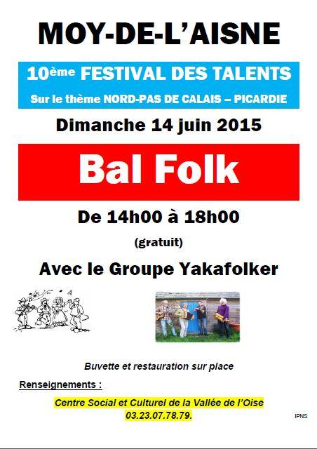 Affiche Bal folk festival des talents à Moÿ-de-l'Aisne