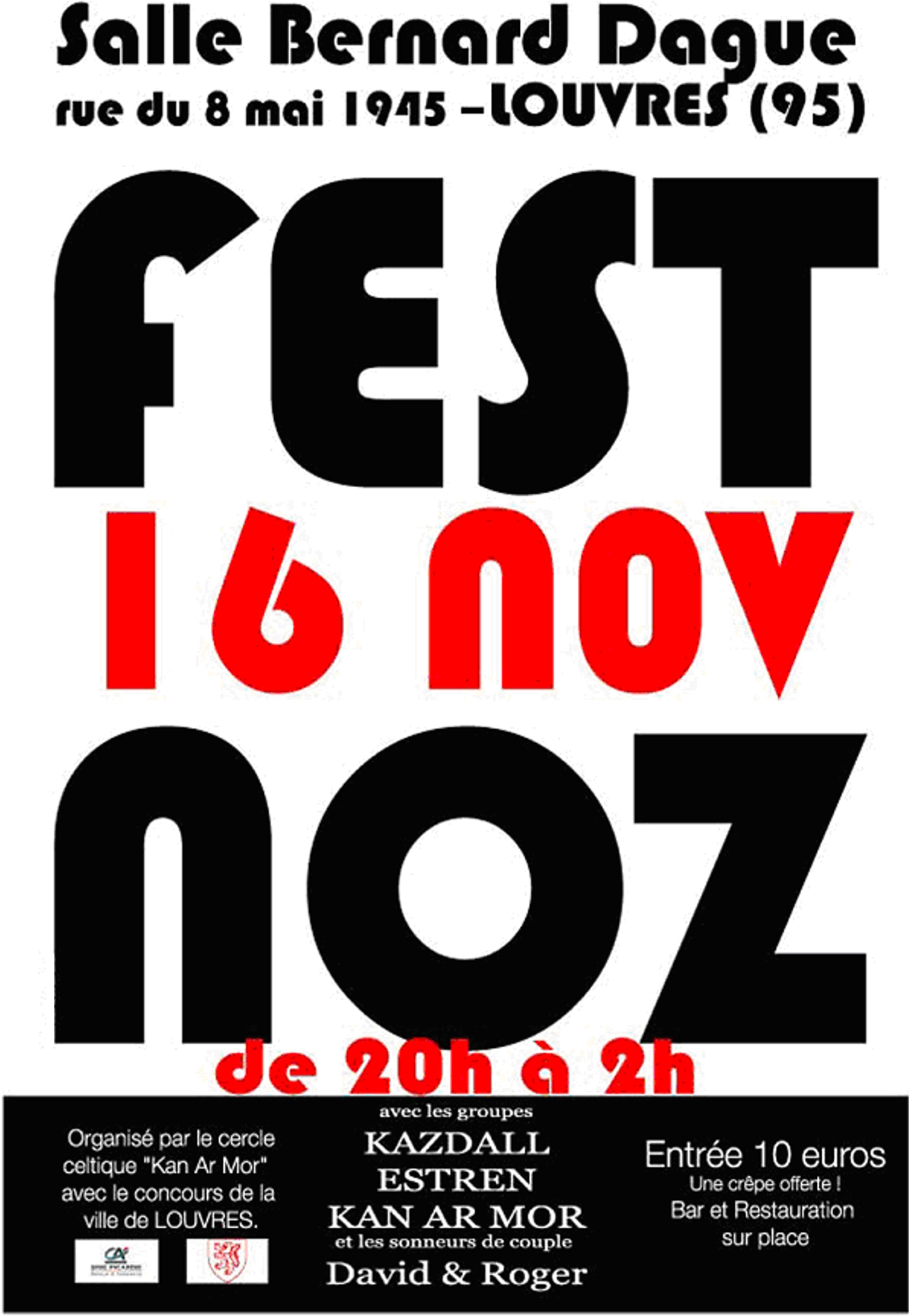 Affiche Fest-noz fest noz de Louvres (95) à Louvres