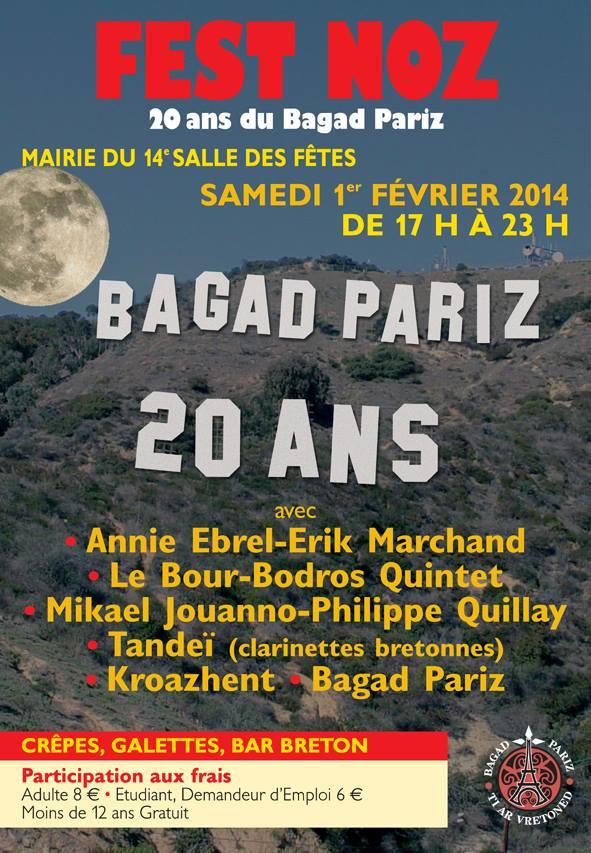Affiche Fest-noz 20 ans du bagad Pariz à Paris