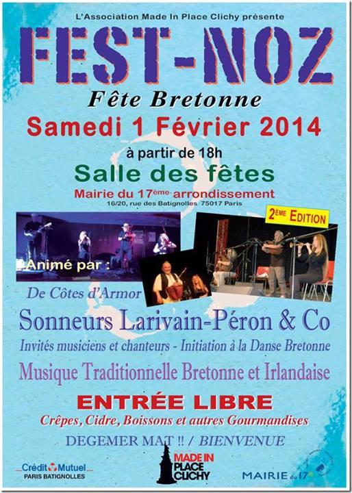 Affiche Fest-noz fête bretonne à Paris