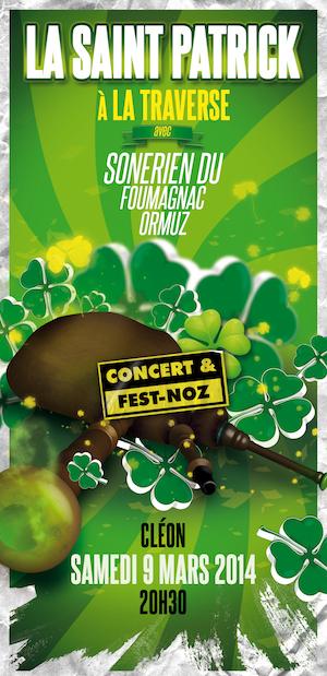 Affiche Fest-noz concert et fest-noz de la Saint-Patrick à Cléon