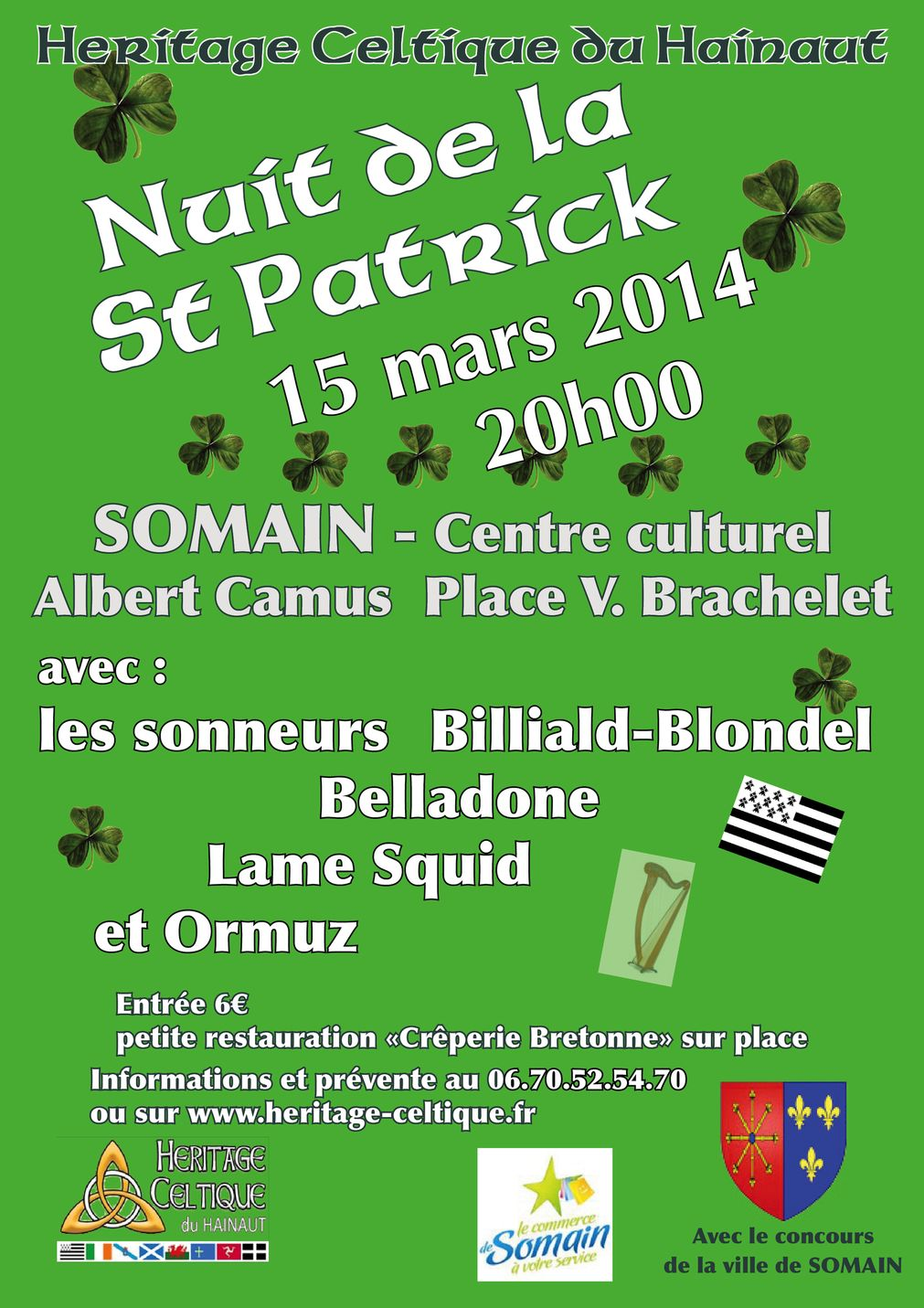 Affiche Bal folk fest-noz 6ème Nuit de la St Patrick à Somain