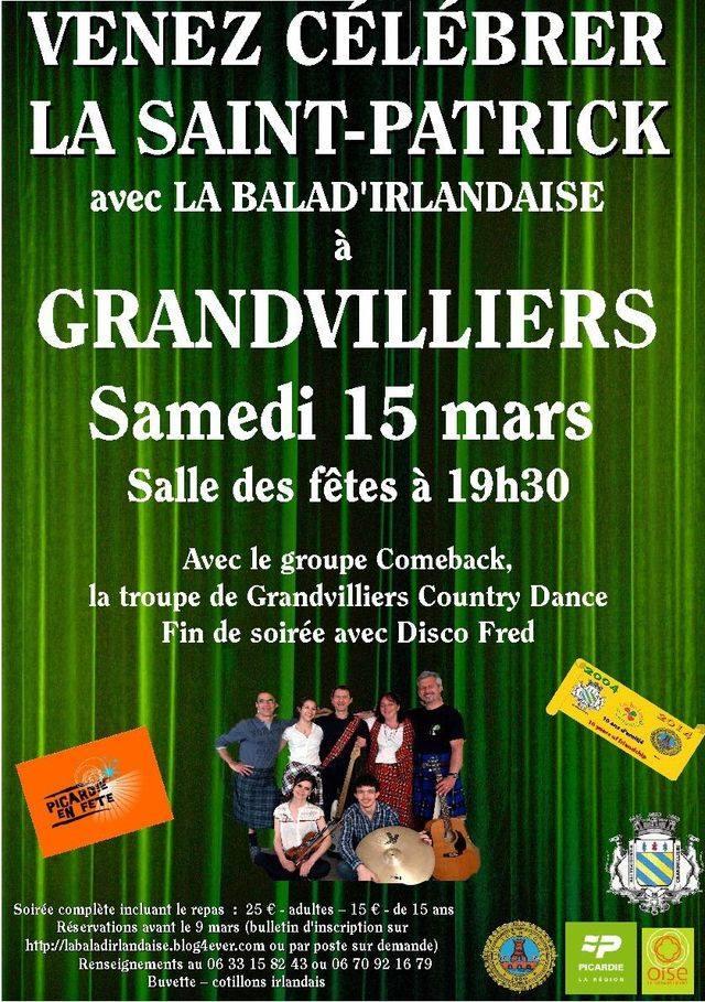 Affiche Spectacle soirée de la Saint-Patrick à Grandvilliers