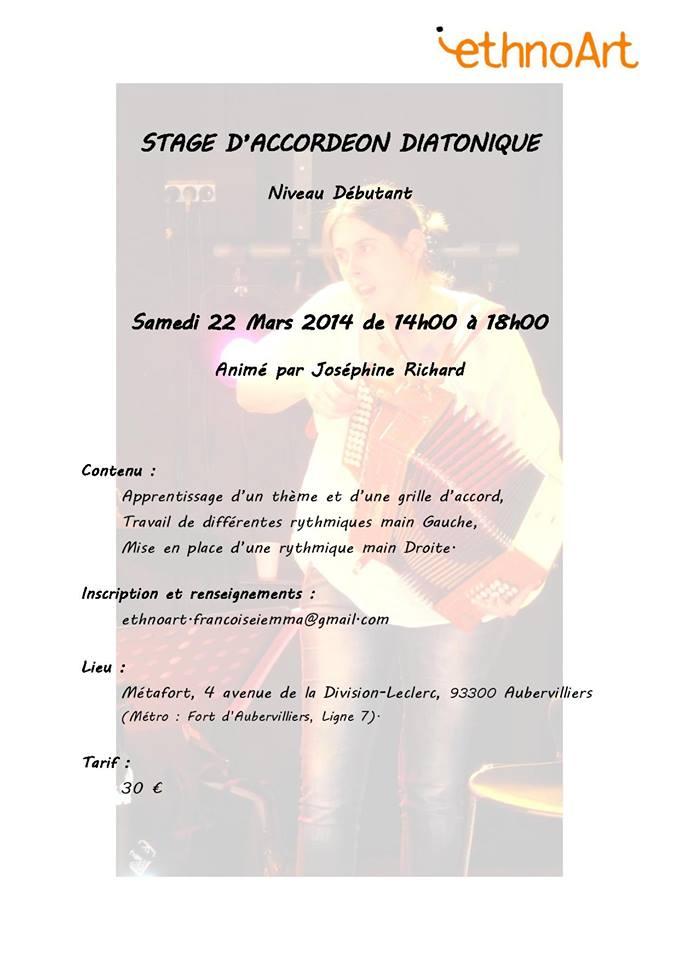 Affiche Stage <strong>accordéon diatonique</strong> à Aubervilliers