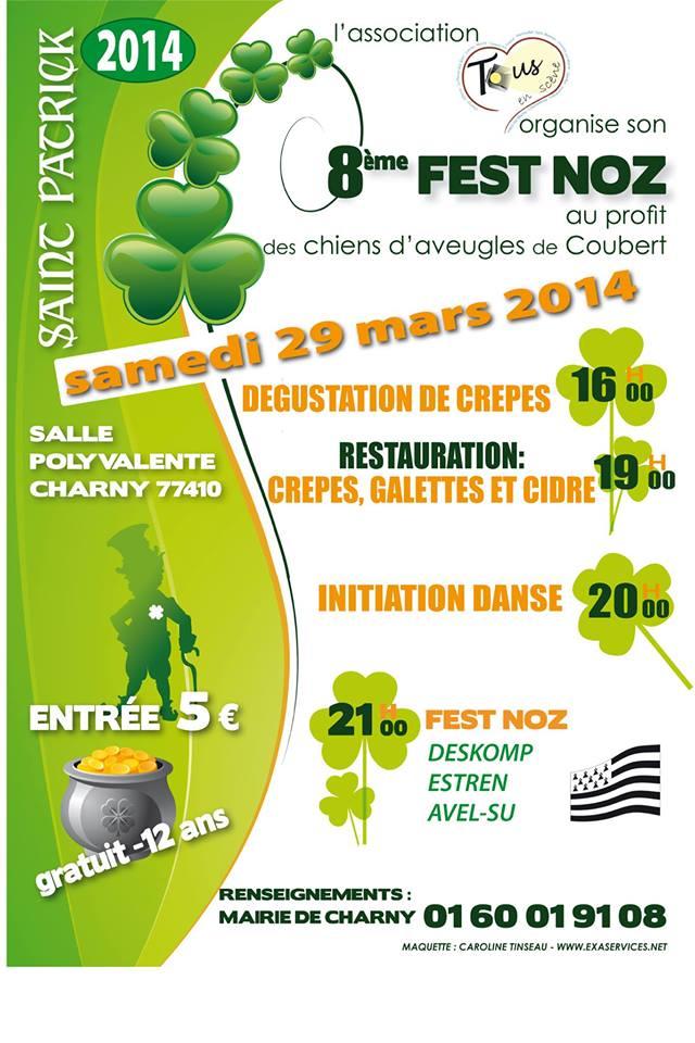Affiche Fest-noz 8ème fest-noz au profit des chiens d'aveugles de Coudert à Charny