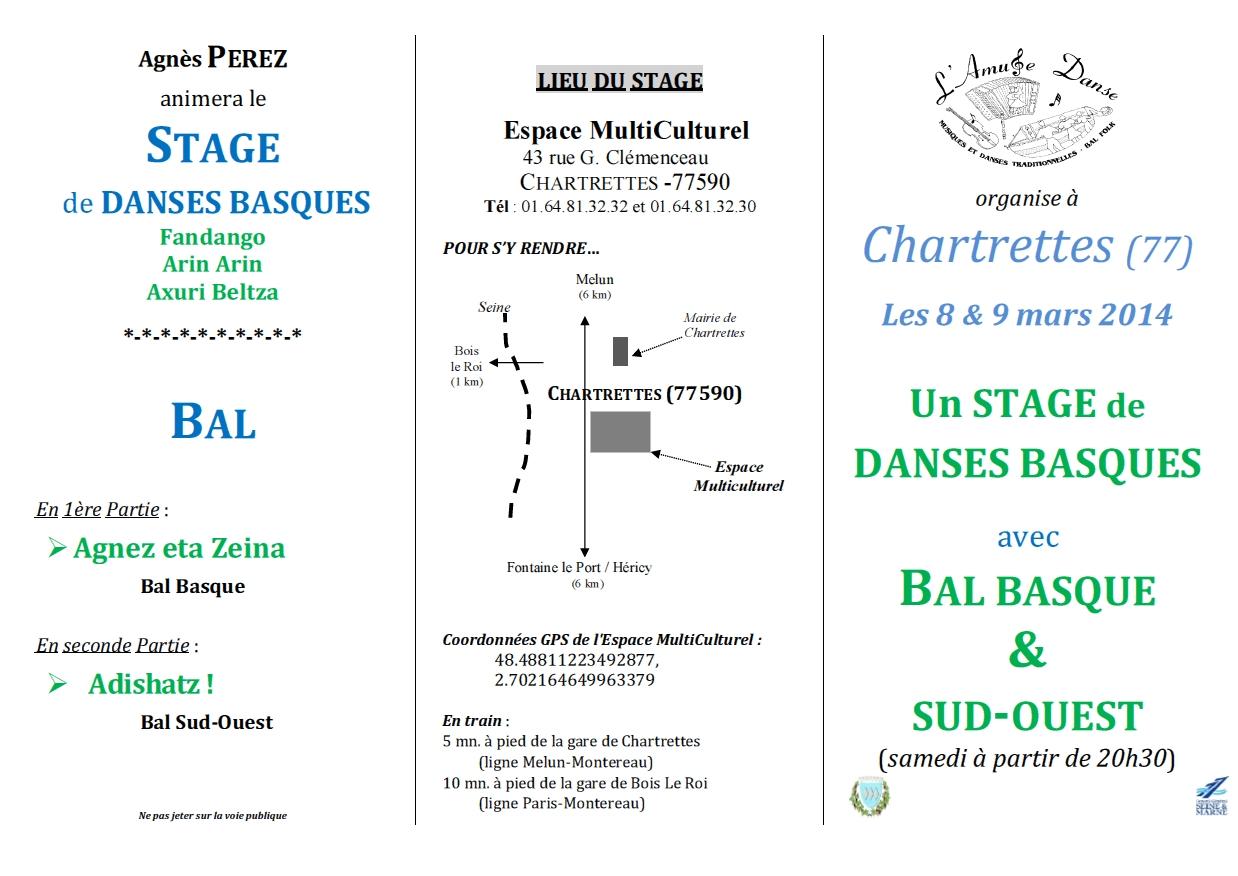 Affiche Bal folk stage de danses basques + bal folk à Chartrettes
