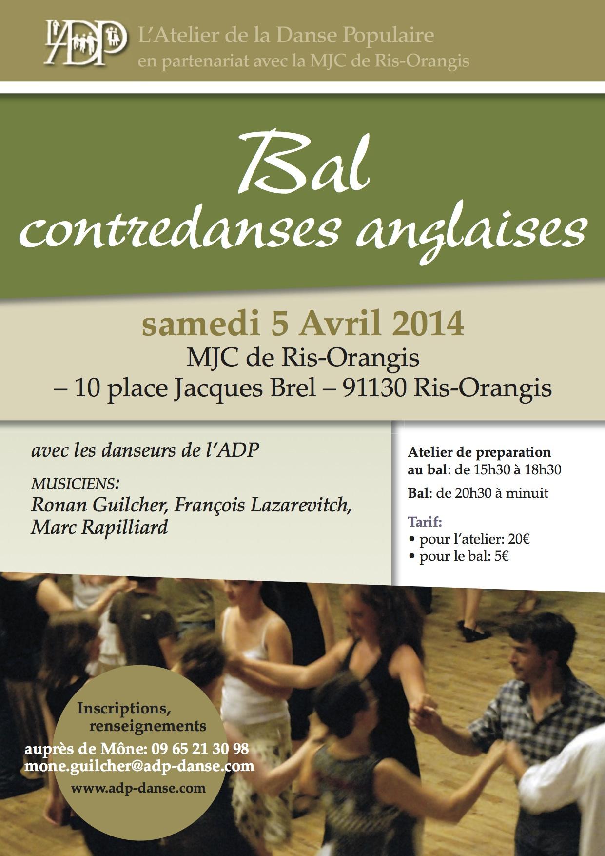 Affiche Bal folk stage et bal de <strong>contredanse anglaise