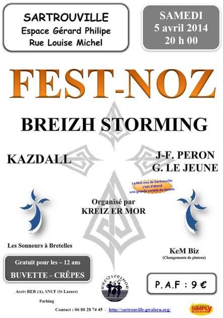 Affiche Fest-noz Kreiz er Mor à Sartrouville