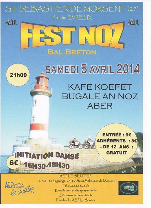 Affiche Fest-noz Fest-noz à Saint-Sebastien-de-Morsent (27) à Saint-Sébastien-de-Morsent