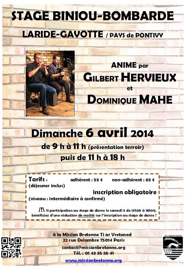 Affiche Stage <strong>biniou-bombarde</strong> (musique de laridé-gavotte, pays de Pontivy) à Paris