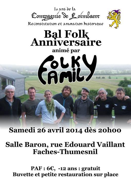 Affiche Bal folk bal des 10 ans de la Compagnie de Loimbaert à Faches-Thumesnil