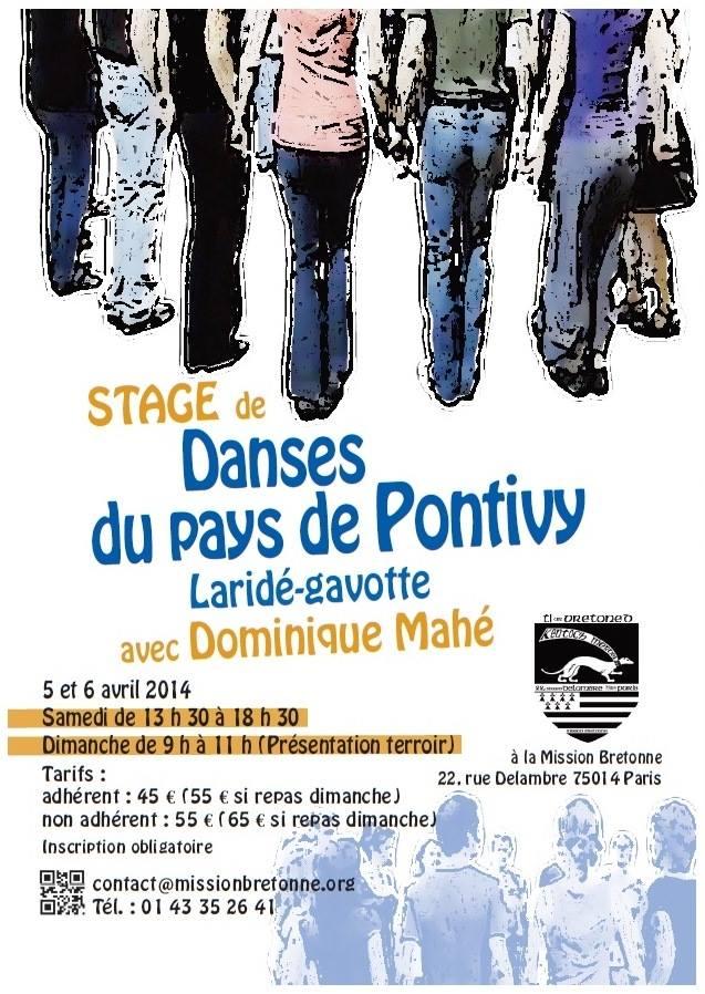 Affiche Stage danses du pays de Pontivy laridé-gavotte à Paris
