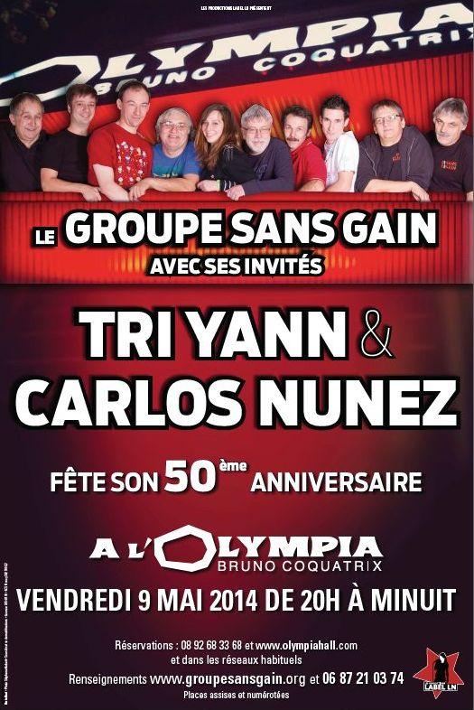 Affiche Concert 50ème anniversaire de Groupe Sans Gain à Paris