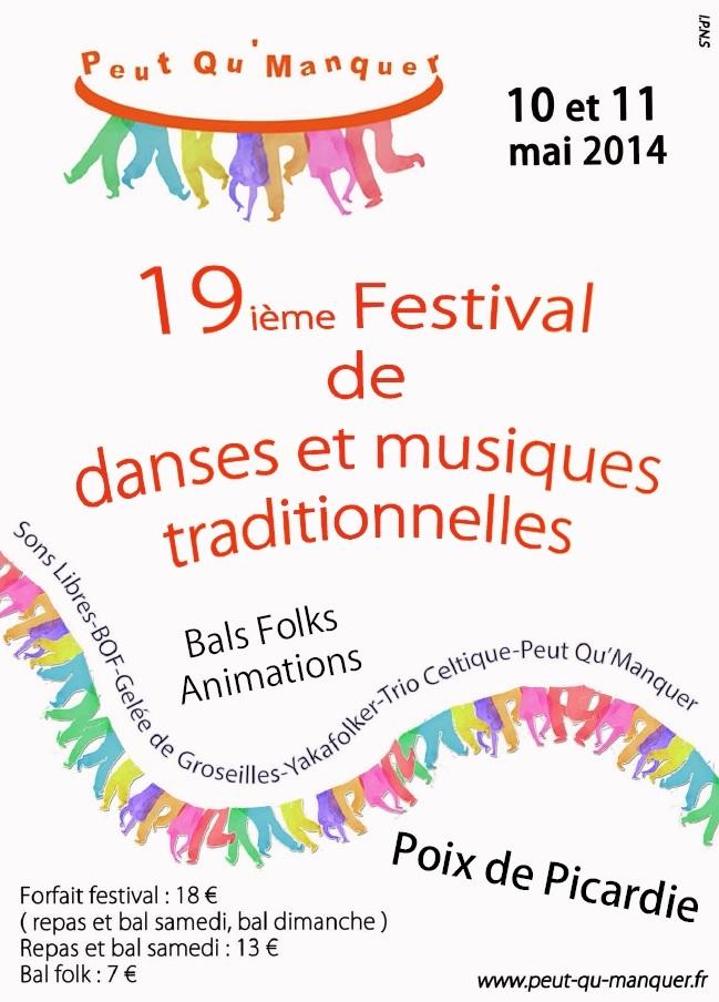 Affiche Bal folk 19ème festival de danses et musiques traditionnelles à Poix de Picardie