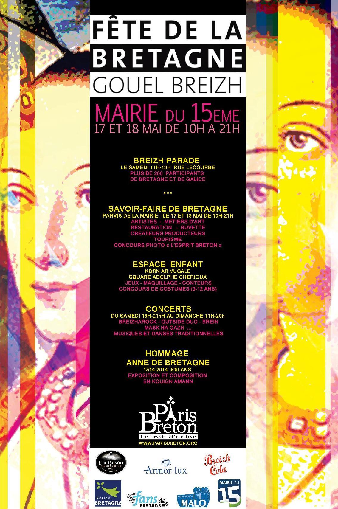 Affiche Festival fête de la Bretagne / Gouel Breizh à Paris