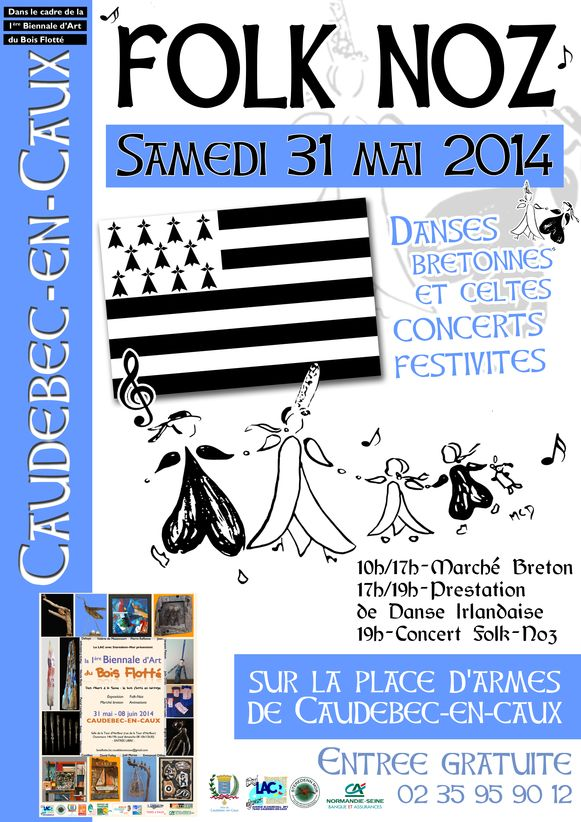 Affiche Bal folk fest-noz 1ère  Biennale  du  Bois  Flotté à Caudebec-en-Caux