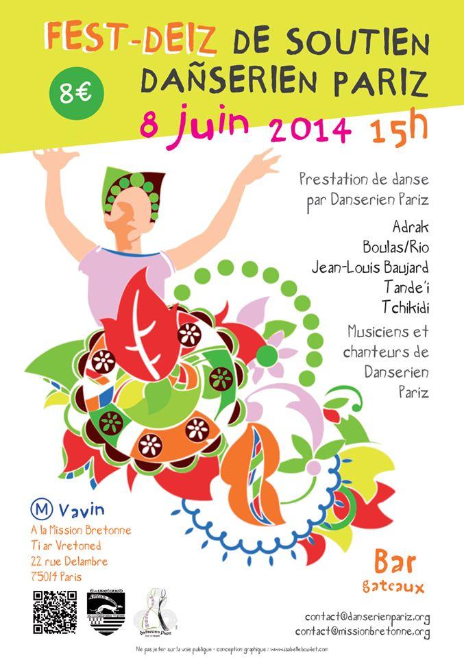 Affiche Fest-deiz fest-deiz de soutien à Dañserien Pariz à Paris
