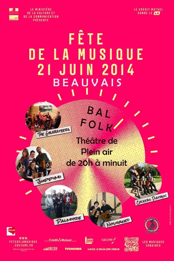 Affiche Bal folk fête de la musique, carte blanche à Loupfolk à Beauvais