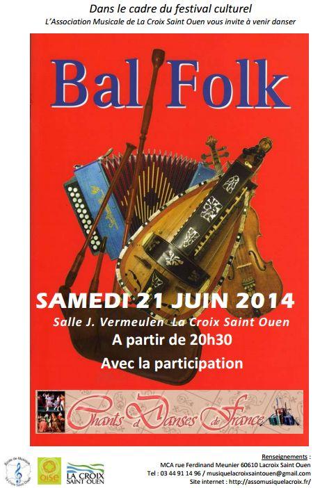 Affiche Bal folk Fête de la musique à La Croix-Saint-Ouen