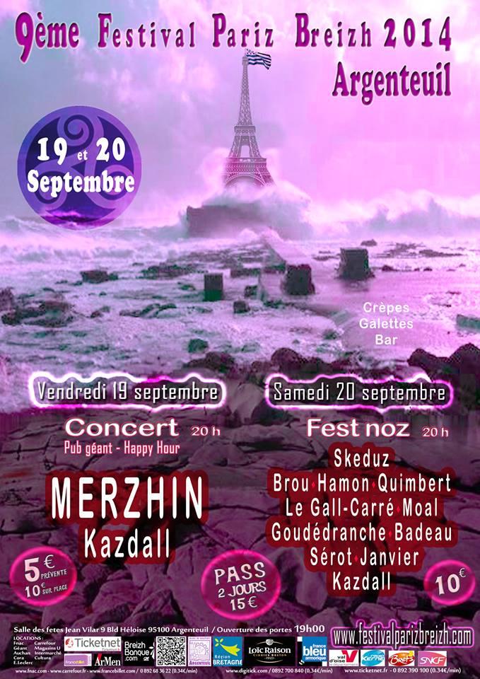 Affiche Concert festival Pariz Breizh 2014 à Argenteuil