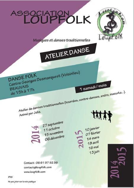 Affiche Atelier danses traditionnelles de bal folk et de fest-noz à Beauvais