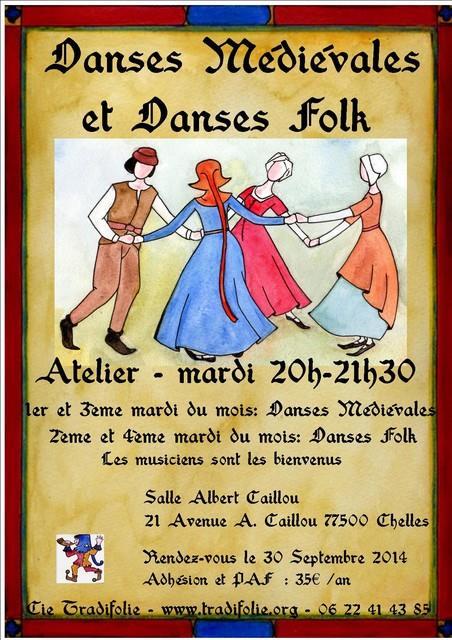 Affiche Atelier danses médiévales et renaissance (deux mardis par mois) et danses traditionnelles (deux mardis par mois, en alternance) à Chelles