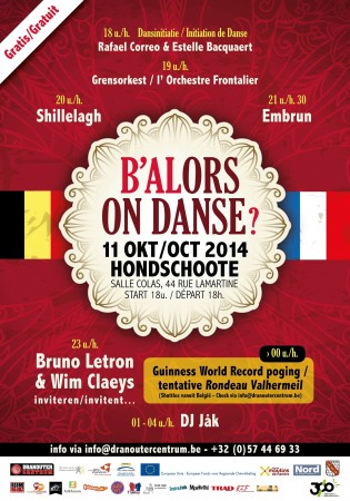 Affiche Bal folk B'Alors on danse, avec tentative de record mondial de rondeau à Hondschoote