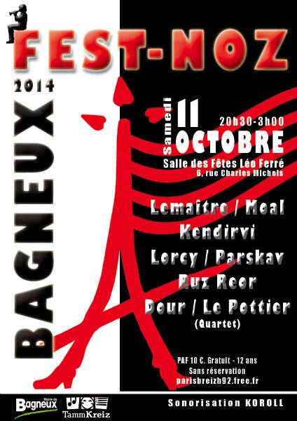Affiche Fest-noz Paris Breizh, fest-noz de Bagneux à Bagneux