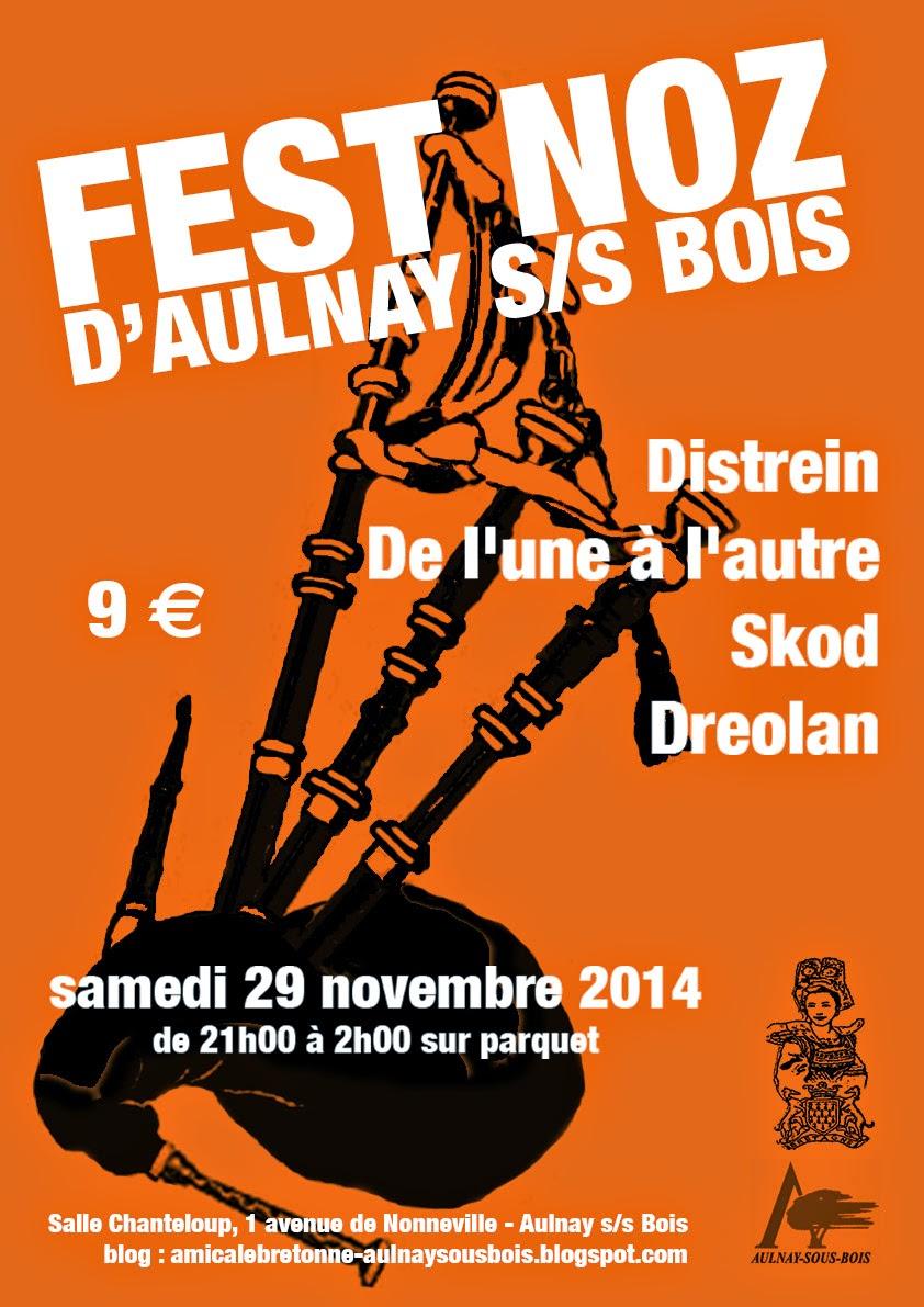 Affiche Fest-noz  à Aulnay-Sous-Bois