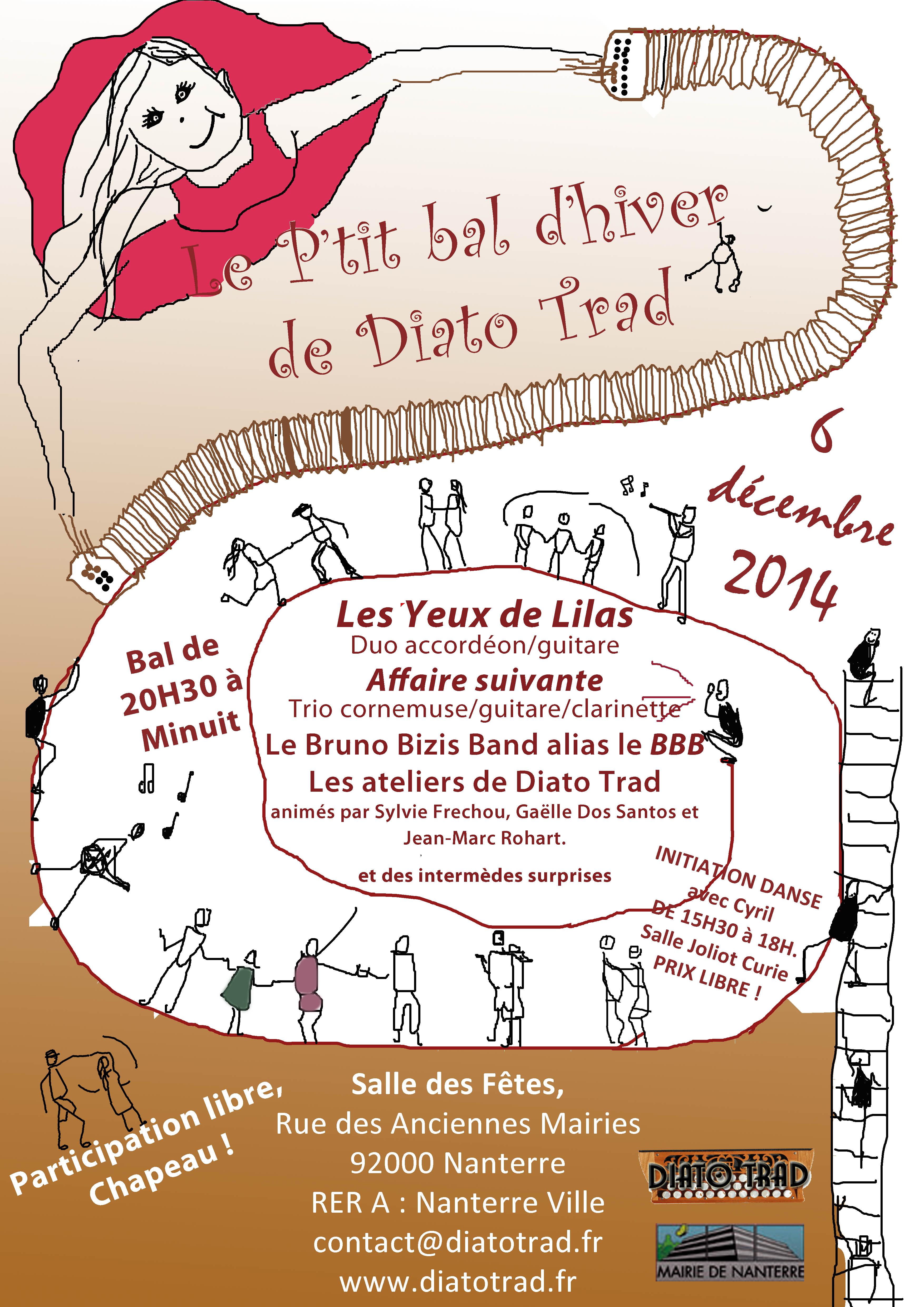 Affiche Stage initiation aux danses de bal folk à Nanterre