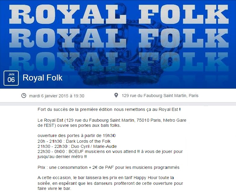 Affiche Bal folk Royal Folk à Paris