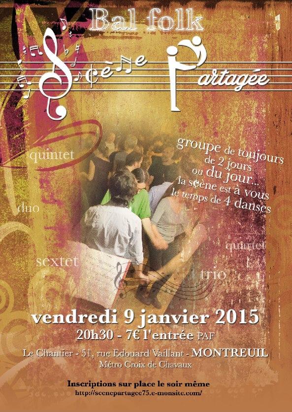 Affiche Bal folk scène partagée à Montreuil