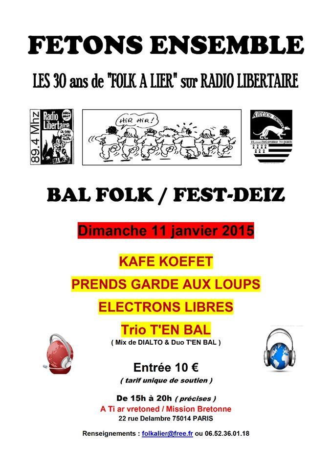 Affiche Fest-deiz 30 ans Folkalier à Paris