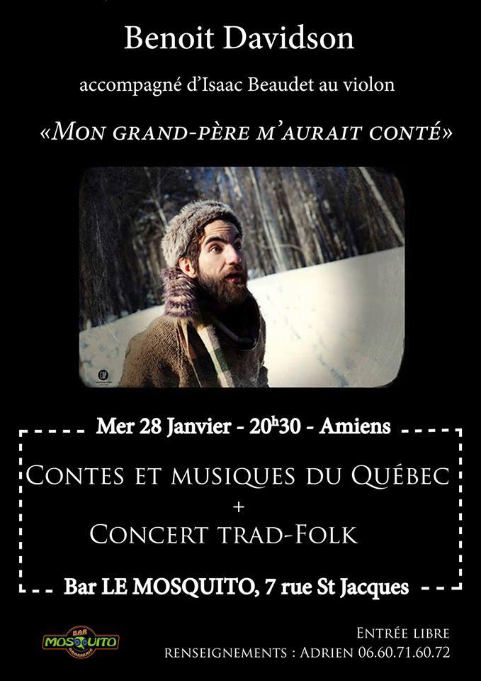 Affiche Spectacle contes et musiques du Québec + concert trad'n'folk à Amiens
