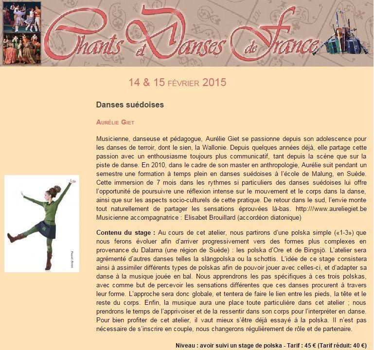 Affiche Stage Stage de danses suédoises avec Aurélie Giet à Soissons