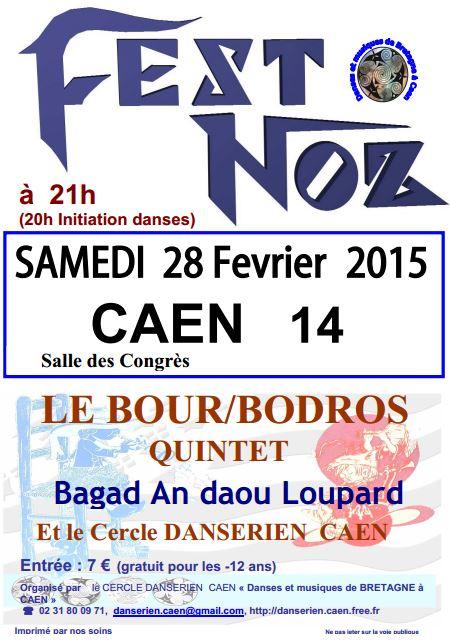 Affiche Fest-noz 15 ans du cercle Danserien Caen à Caen