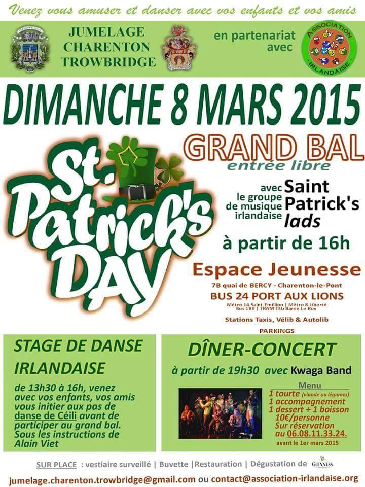 Affiche Céili bal & concert Saint Patrick à Charenton-le-Pont