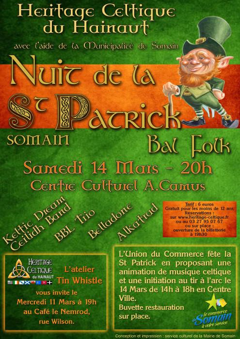 Affiche Bal folk Nuit de la St Patrick à Somain