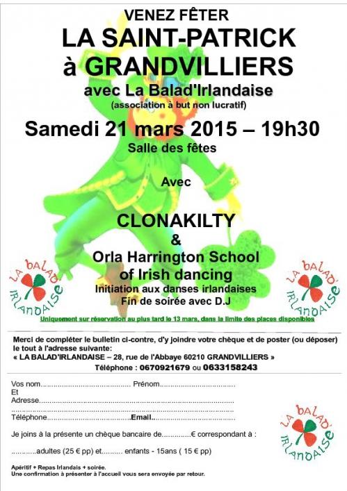 Affiche Concert fête de la Saint Patrick à Grandvilliers