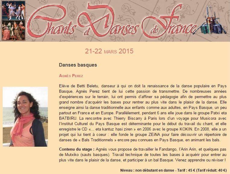 Affiche Stage danses basques avec Agnès Perez à Soissons