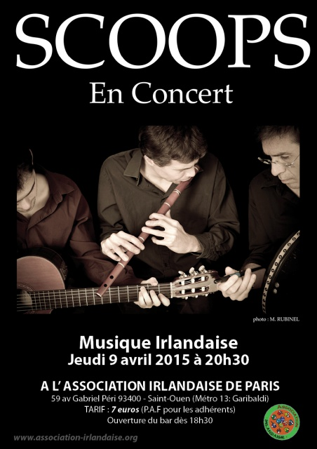 Affiche Concert Scoops à l'Association Irlandaise à Saint-Ouen
