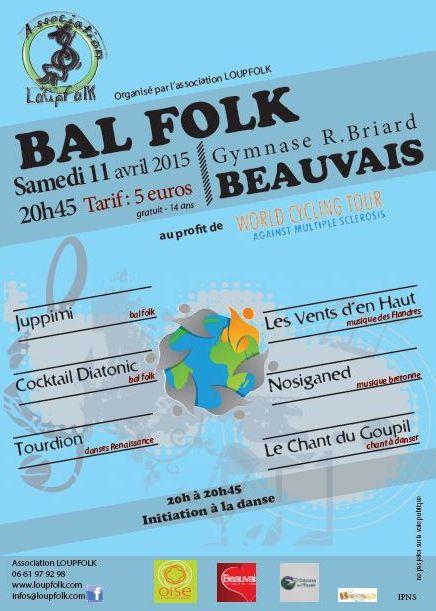Affiche Bal folk bal au profit du tour du monde contre la sclérose en plaque à Beauvais