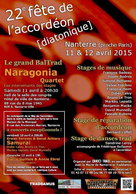 Affiche Festival 22e fête de l'accordéon [diatonique]  à Nanterre