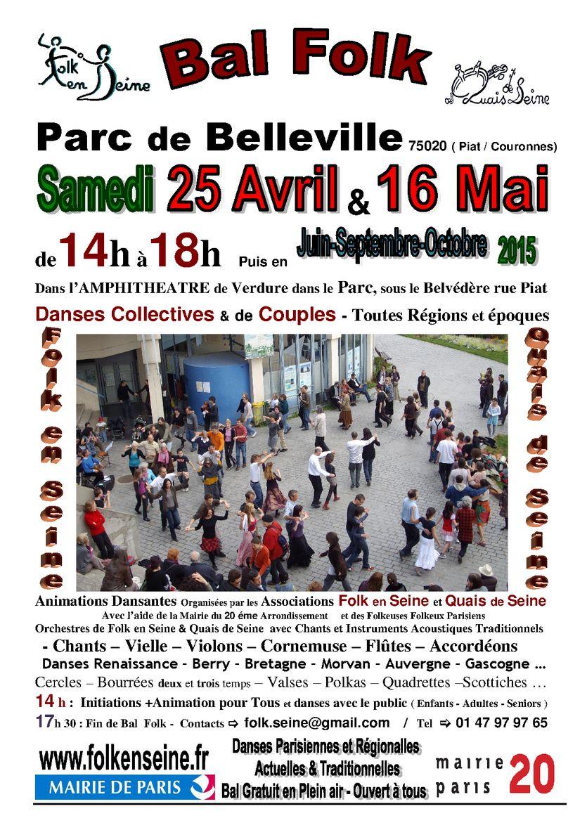 Affiche Bal folk 1er des 5 bals folk 2015 en plein-air au parc de Belleville à Paris