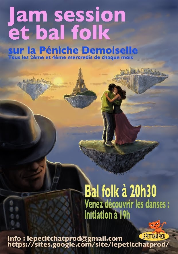 Affiche Bal folk Jam session et bal folk à Paris