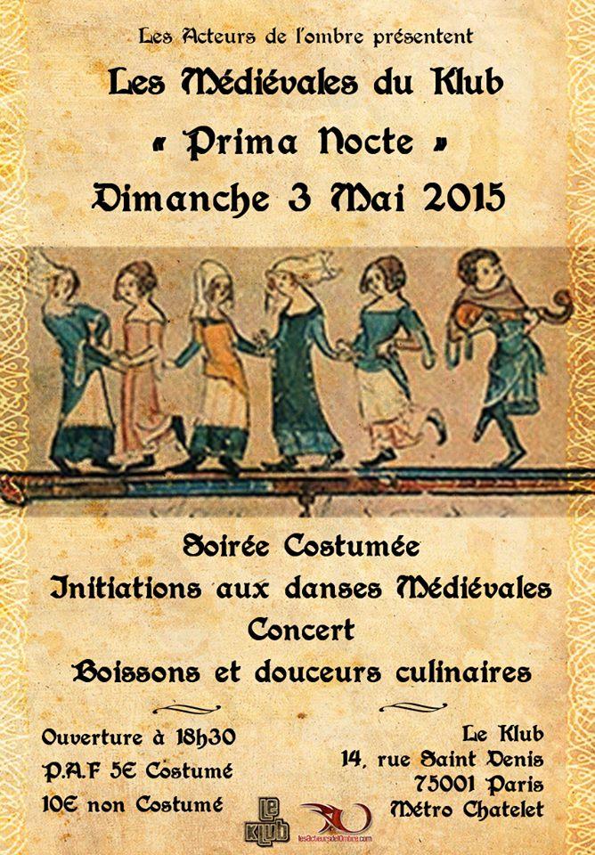 Affiche Bal médiéval La Médiévales du Klub - Prima Nocte à Paris