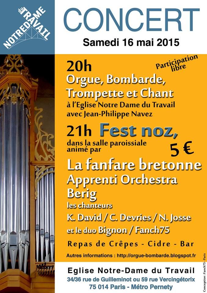 Affiche Fest-noz concert suivi d'un fest-noz à Paris
