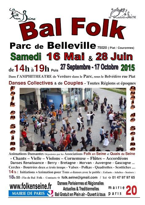 Affiche Bal folk bal folk en plein-air au parc de Belleville à Paris