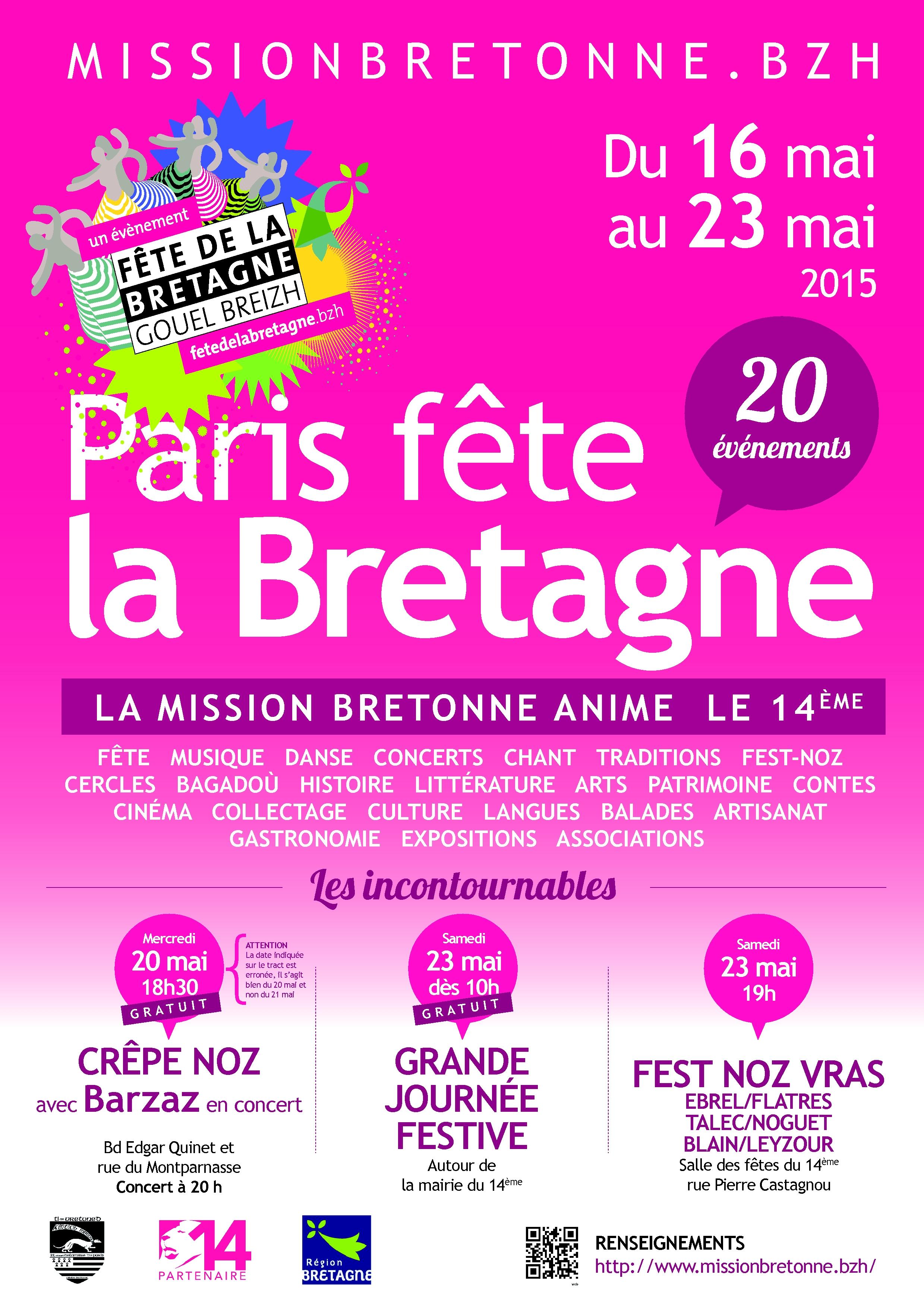 Affiche Animation Saint-Yves, fête de la Bretagne 2015 à Paris