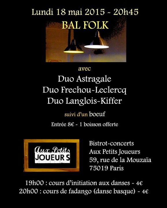 Affiche Bal folk bal précédé de cours de danse à Paris